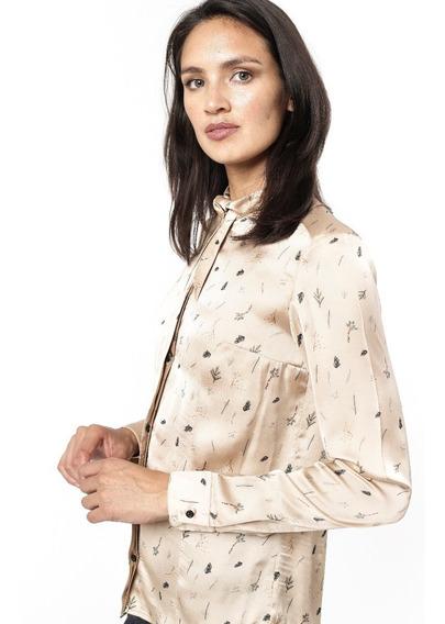 Camisa Satén Estampada Cuello Con Lazo Giacca