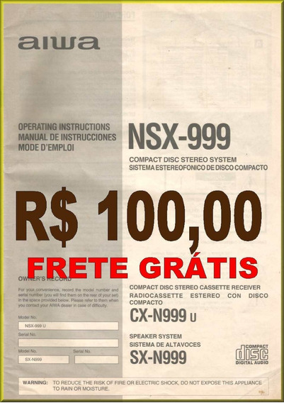 Manual Comp Disc Stereo System Aiwa - Nsx-999 - Frete Grátis