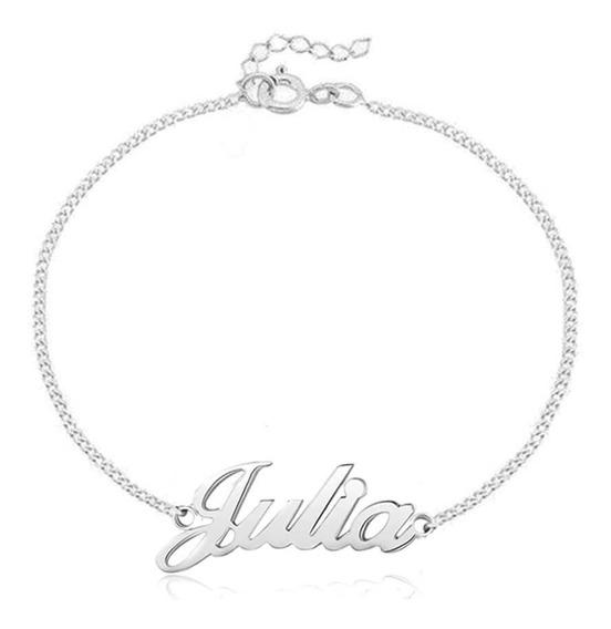 Pulseira Personalizada Com Nome Bracelete - Prata De Lei 925