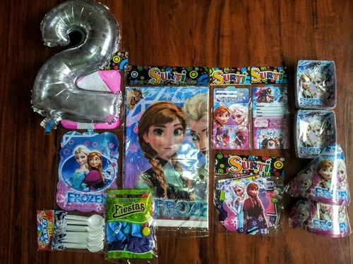 Kit Decoracion Frozen Fiesta 24 Invitados + Obsequio