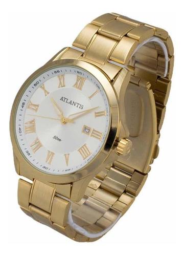Relógio Atlantis Masculino Feminino Social Prata