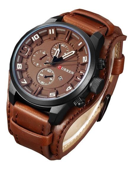 Reloj Militar Moderno Hombre Analogo Curren Piel C/ Estuche