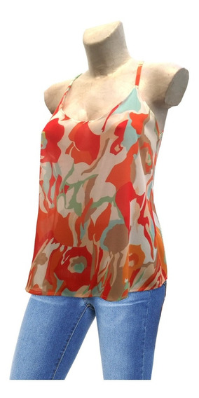 Blusa Remera Musculosa Flores Gasa Estampado Original