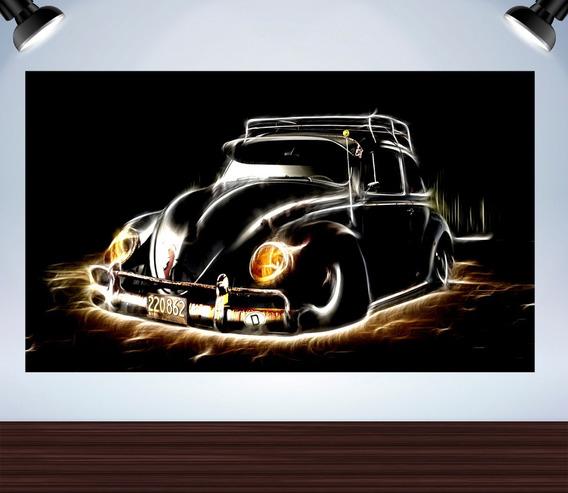 Poster Fusca Preto Adesivado Tamanho 120x68cm