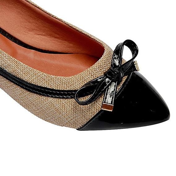 Sapatilha Sapato Feminino Palha Preto