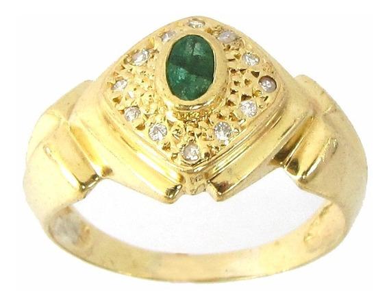 6901 Anel De Ouro 18k 750 Tem 12 Diamantes E Esmeralda