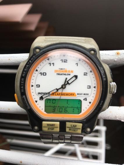 Timex Vintage Anadigi Ironman 8 Lap Pulseira Metal Original!