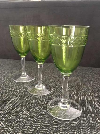 Copos Calice Cristal Baccarat Verde Urânio