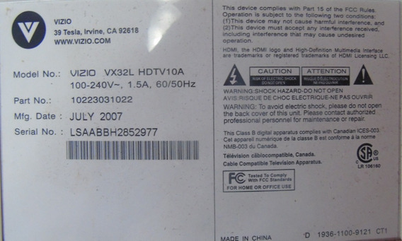 Teclado Com Sensor Remoto Vizio Vx32l / 0174-1770-1791