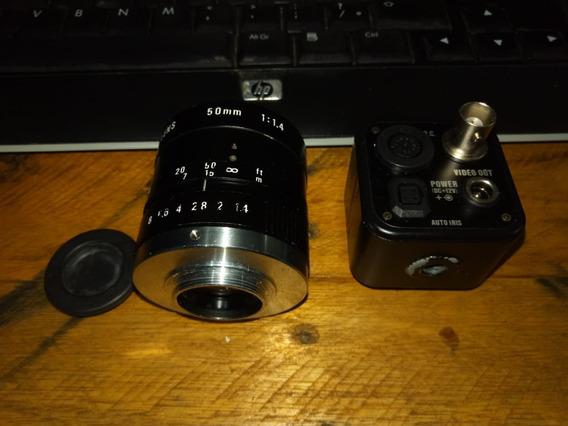 Câmera Monocromática Watec Wat-100n + Lente 50mm Cosmicar