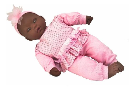 Boneca Bebês Coleção C/ Som Balbucia Bebê Negra - Divertoys