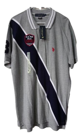 Playera U.s Polo Assn. Color Azul/gris L De Hombre