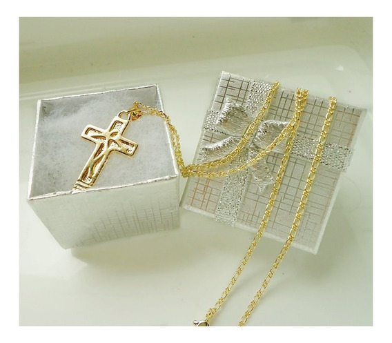 Pingente Crusifixo Com Cristo Em Relevo Mais Linda Corrente Masculina Com 60 Cm Tudo Folheado Ouro 18 K + Caixa Presente