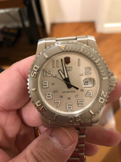 Relógio Swiss Army Fundo Branco Prova Dágua Caixa De Aço