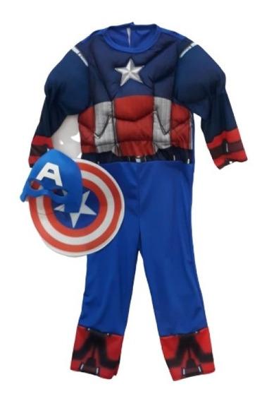 Disfraz Capitán América Musculoso Con Accesorios