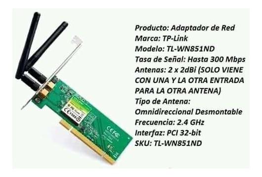 Tarjeta De Red Wifi Tl-wn851n Pci 300mbps Tp-link