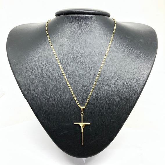 Corrente Masculina Kartie 70cm 2mm Crucifixo Folheado Ouro