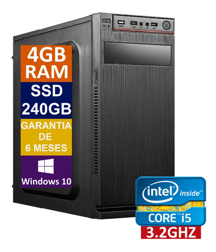 Pc Computador Cpu Intel Core I5 + Ssd 240gb, 4gb Memória Ram