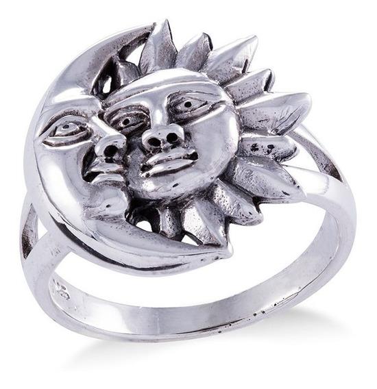 Anel Sol E Lua Em Prata 925 Bali Boho Hippie