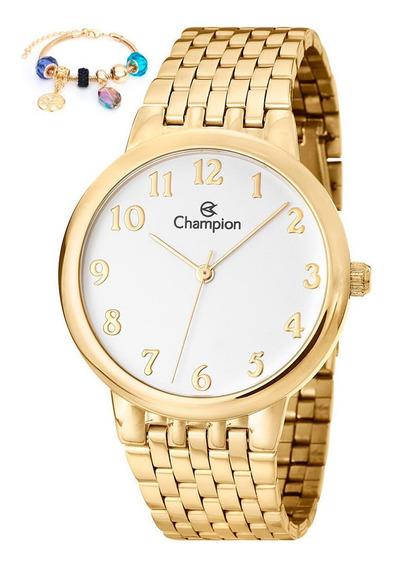 Relogio Champion Dourado Feminino + Pulseira Ch22911s C/nf-e