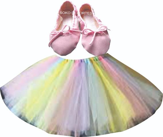Tutu Arco Iris O Con Flor Tela Caderin Raso Ballet Soko