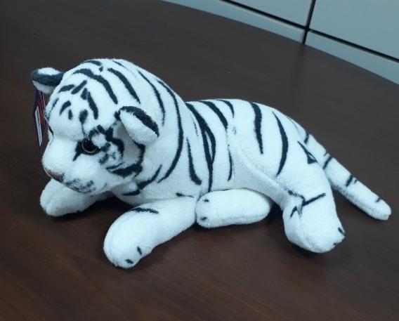 Tigre De Pelúcia 30cm Branco Rajado Promoção Frete Grátis