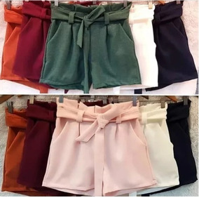 Shorts Bermuda Clochard Bengaline Cinto E Bolso Cintura Alta