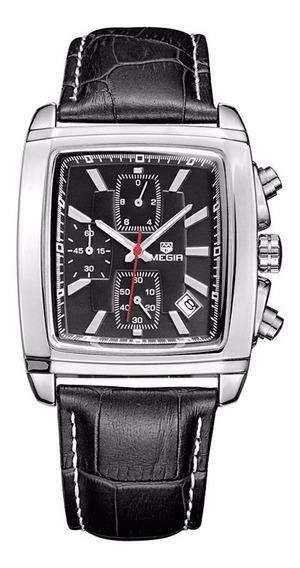 Relógio Megir 2028 Retrô Elegante Luxo Esporte - Preto