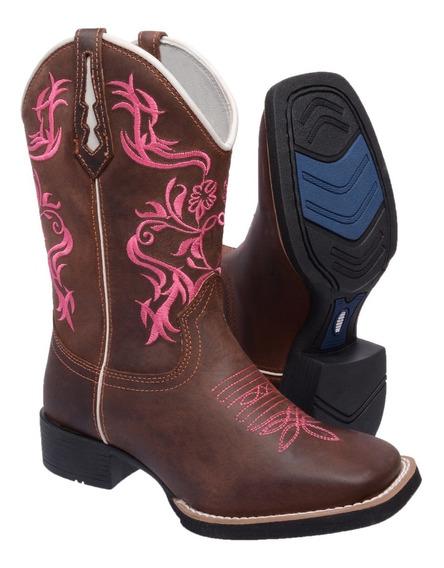 Bota Feminina Texana Country Cano Longo Bordado Rodeio Couro