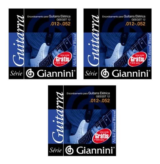 Kit 3 Encordoamento Para Guitarra 012 052 Giannini Geegst12