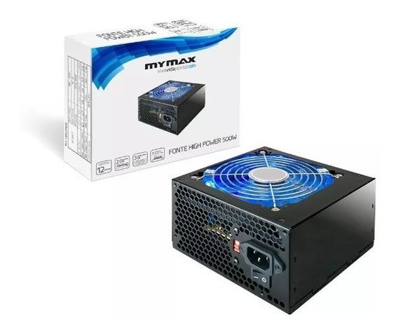 Fonte Atx 500 Watts Mymax High Power Led Azul