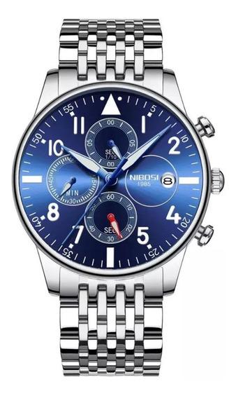 Relógio Masculino Nibosi 2368 Original Azul *lançamento*