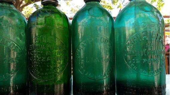 Sifones Verdes Con Letras En Relieve Cabeza De Plomo Antiguo