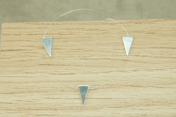 Colar Brinco Triângulo Invertido Fio Nylon (m13) Prata 925