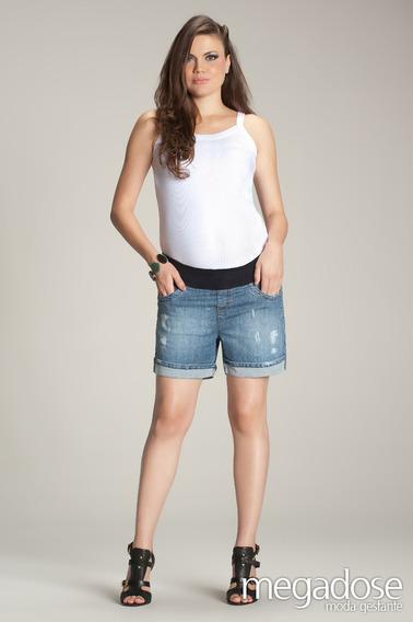 Shorts Meia Coxa Cinza 38 (p) - Moda Gestante Megadose