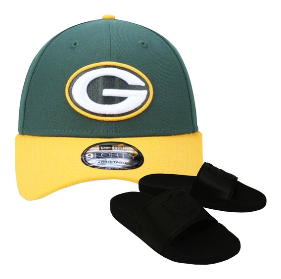 Kit Boné New Era + Chinelo Preto Green Bay Packers Nfl
