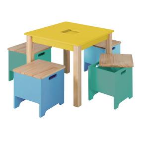 Mini Móvel Infantil Mesa Com Banquinhos Amarelo Siena Ib