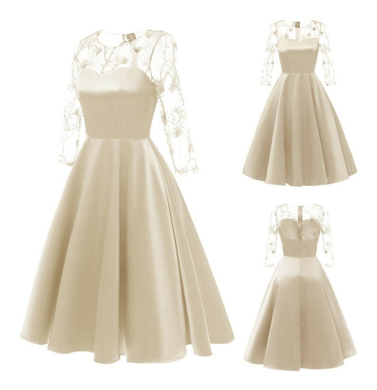 Vestido Noivas Off White Midi Formal Tecido Poliéster Erenda