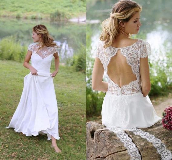 Vestido Noiva Angel Detalhe Costas Campo Boho Fluido Leve