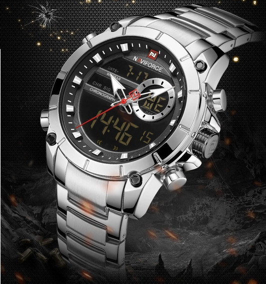 Relógio Masculino Naviforce 9163 Analógico Digital Luxo