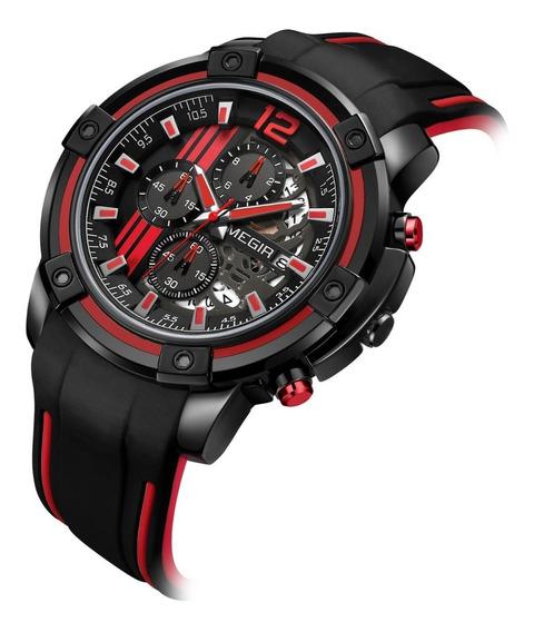 Relógio Masculino Megir Silicone Preto 2097 Original