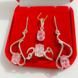 Anel Brinco E Pingente Em Prata 950 Com Pedras Quartzo Rosa