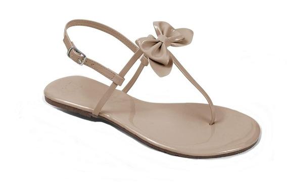 Sandália Flat Mercedita Shoes Verniz Com Gravatinha