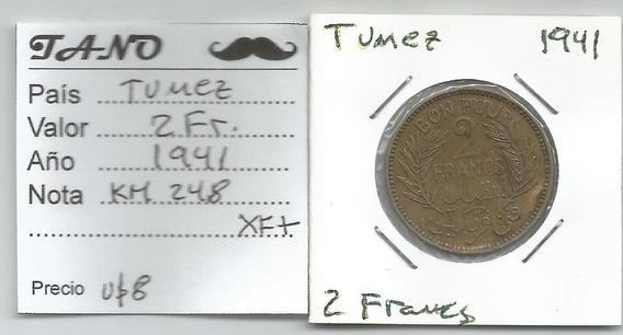 M220 Túnez Moneda 2 Francos 1941 Km# 248 Xf+