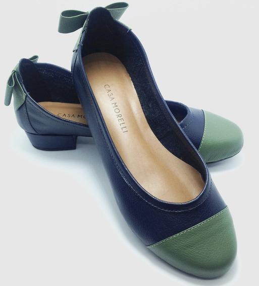 Sapato Feminina Couro Legítimo Marinho/army Sucesso 25108