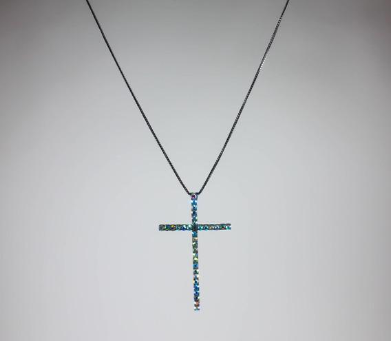 Gargantilha C/ Pingente Cruz De Pedras Cristais Zircônia