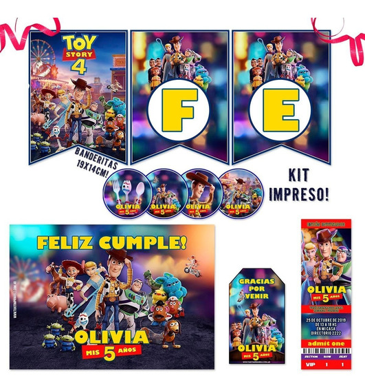 Kit Toy Story 4 Candy Bar Invitaciones Banderin Stickers