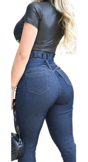 Calça Jeans Feminina Skinny Cós Alto Levanta Bumbum C/ Lycra
