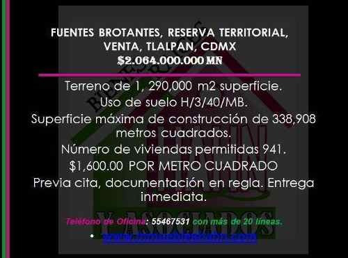 Fuentes Brotantes, Reserva Territorial, Venta, Tlalpan, Cdmx