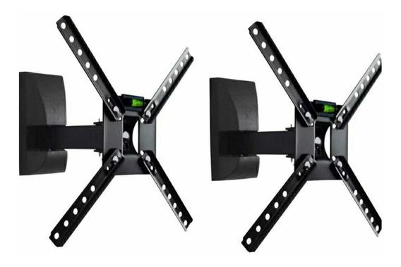 Kit C/2 Suporte Articulado Tv Movel Brasforma Sbrp130 Preto